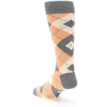 Image of Peach Gray Argyle Wedding Groomsmen Men's Dress Socks (side-2-back-15)
