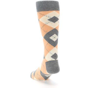 Image of Peach Gray Argyle Wedding Groomsmen Men's Dress Socks (side-2-back-16)