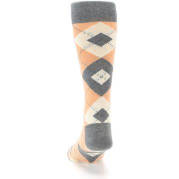 Image of Peach Gray Argyle Wedding Groomsmen Men's Dress Socks (back-17)