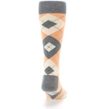 Image of Peach Gray Argyle Wedding Groomsmen Men's Dress Socks (back-19)