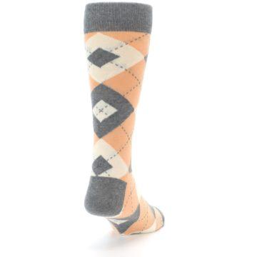 Image of Peach Gray Argyle Wedding Groomsmen Men's Dress Socks (side-1-back-20)