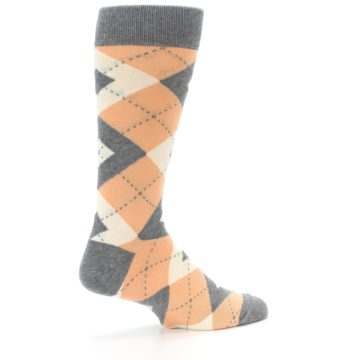 Image of Peach Gray Argyle Wedding Groomsmen Men's Dress Socks (side-1-23)