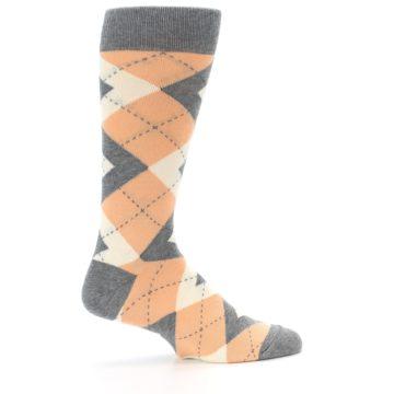 Image of Peach Gray Argyle Wedding Groomsmen Men's Dress Socks (side-1-24)