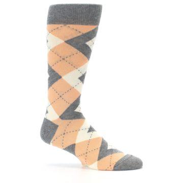Image of Peach Gray Argyle Wedding Groomsmen Men's Dress Socks (side-1-25)
