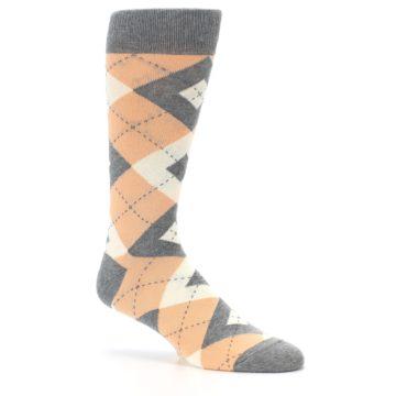 Image of Peach Gray Argyle Wedding Groomsmen Men's Dress Socks (side-1-26)