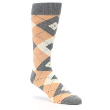 Image of Peach Gray Argyle Wedding Groomsmen Men's Dress Socks (side-1-27)
