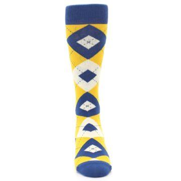 Image of Blue Yellow Argyle Men's Dress Socks (front-04)