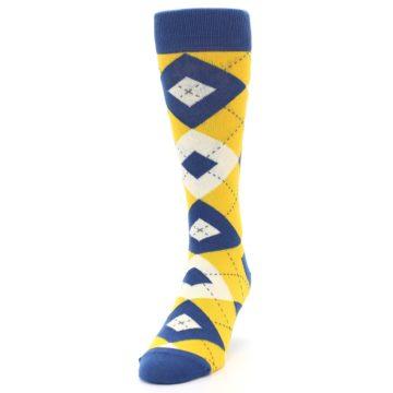 Image of Blue Yellow Argyle Men's Dress Socks (side-2-front-06)