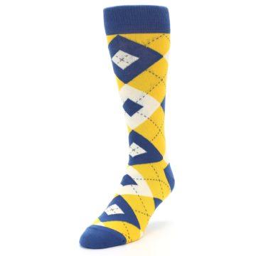 Image of Blue Yellow Argyle Men's Dress Socks (side-2-front-07)