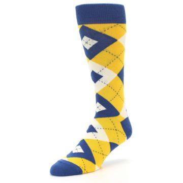 Image of Blue Yellow Argyle Men's Dress Socks (side-2-front-08)