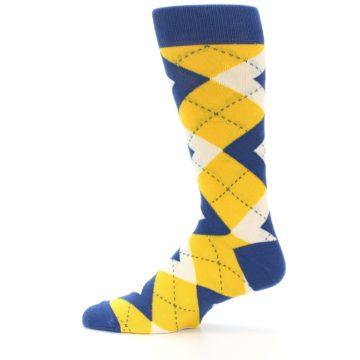 Image of Blue Yellow Argyle Men's Dress Socks (side-2-12)