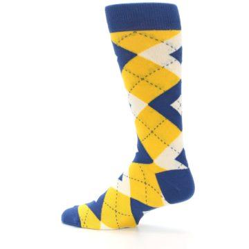 Image of Blue Yellow Argyle Men's Dress Socks (side-2-13)