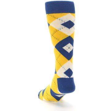 Image of Blue Yellow Argyle Men's Dress Socks (side-2-back-16)