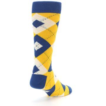 Image of Blue Yellow Argyle Men's Dress Socks (side-1-back-21)
