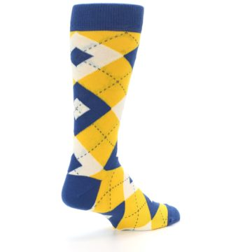 Image of Blue Yellow Argyle Men's Dress Socks (side-1-back-22)