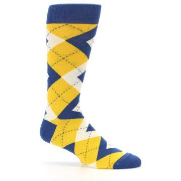 Image of Blue Yellow Argyle Men's Dress Socks (side-1-25)