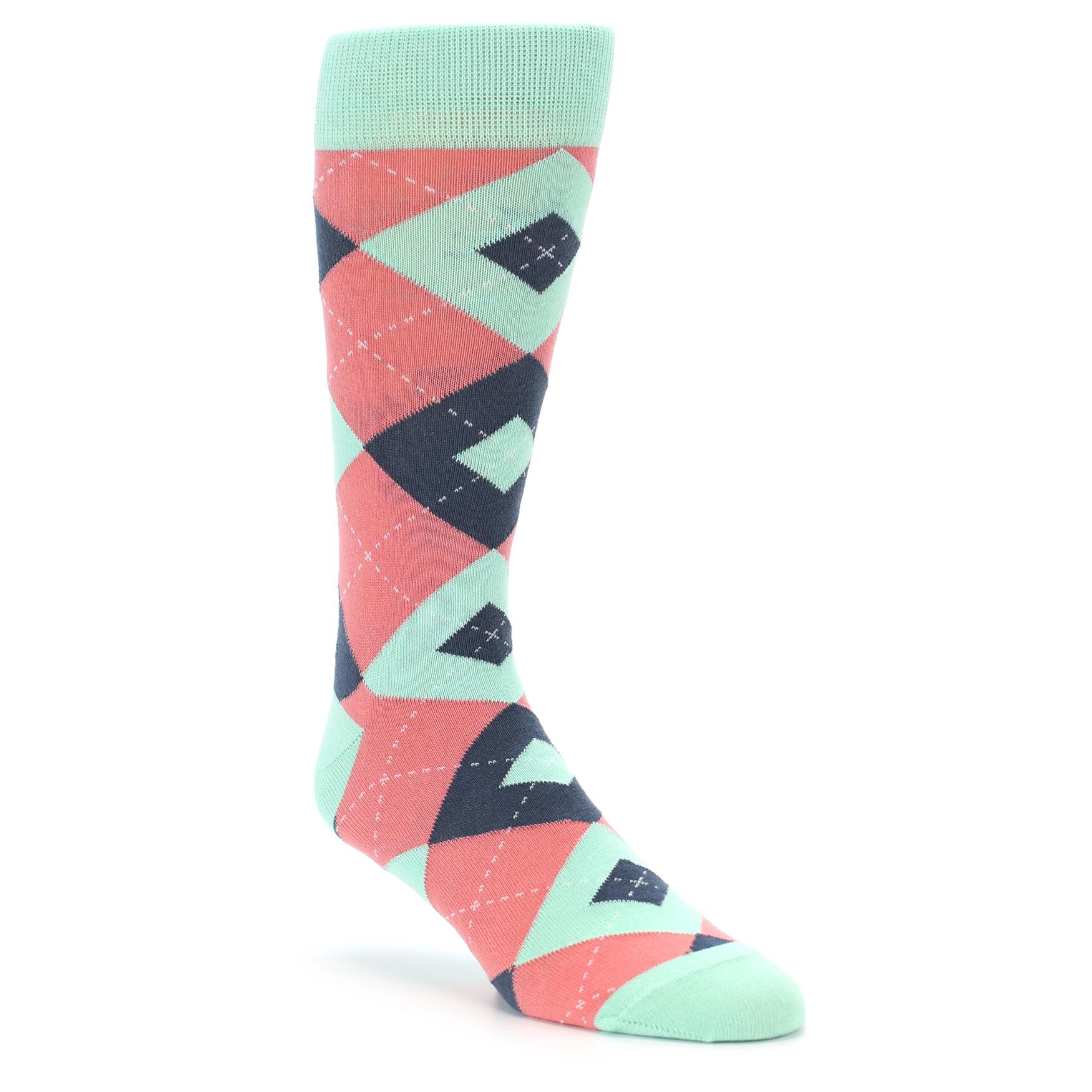 Coral Mint Argyle Wedding Groomsmen Men's Dress Socks