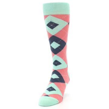 Image of Coral Mint Argyle Wedding Groomsmen Men's Dress Socks (side-2-front-06)