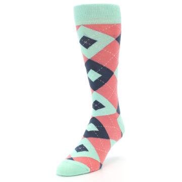 Image of Coral Mint Argyle Wedding Groomsmen Men's Dress Socks (side-2-front-07)