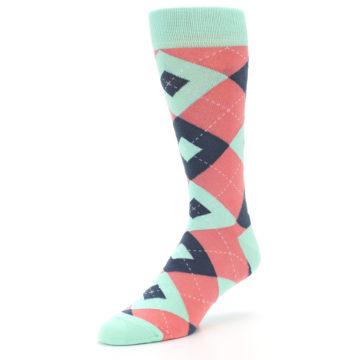 Image of Coral Mint Argyle Wedding Groomsmen Men's Dress Socks (side-2-front-08)