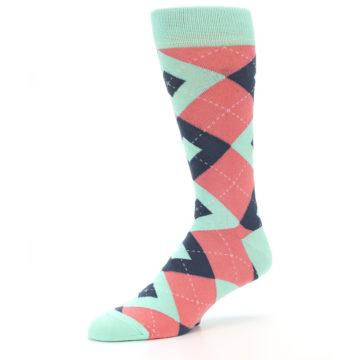 Image of Coral Mint Argyle Wedding Groomsmen Men's Dress Socks (side-2-09)