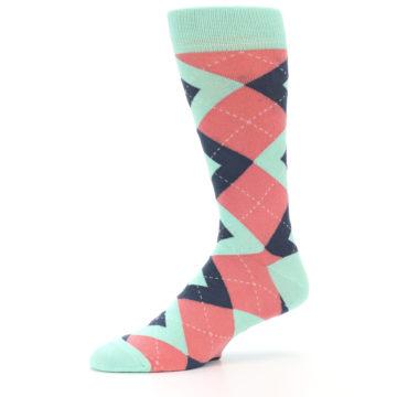 Image of Coral Mint Argyle Wedding Groomsmen Men's Dress Socks (side-2-10)