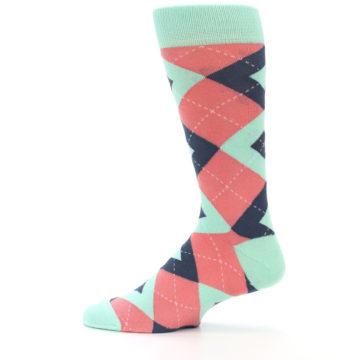 Image of Coral Mint Argyle Wedding Groomsmen Men's Dress Socks (side-2-12)