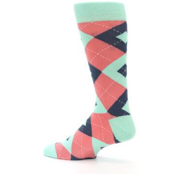Image of Coral Mint Argyle Wedding Groomsmen Men's Dress Socks (side-2-13)