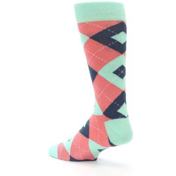 Image of Coral Mint Argyle Wedding Groomsmen Men's Dress Socks (side-2-back-14)