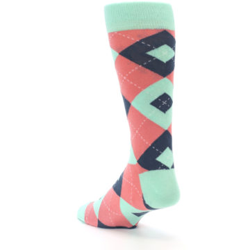 Image of Coral Mint Argyle Wedding Groomsmen Men's Dress Socks (side-2-back-15)