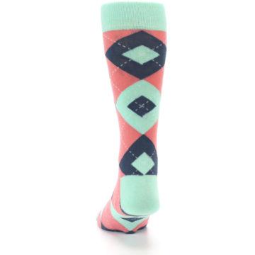 Image of Coral Mint Argyle Wedding Groomsmen Men's Dress Socks (back-17)