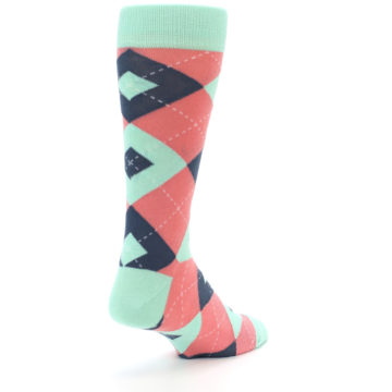 Image of Coral Mint Argyle Wedding Groomsmen Men's Dress Socks (side-1-back-21)