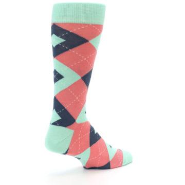 Image of Coral Mint Argyle Wedding Groomsmen Men's Dress Socks (side-1-back-22)