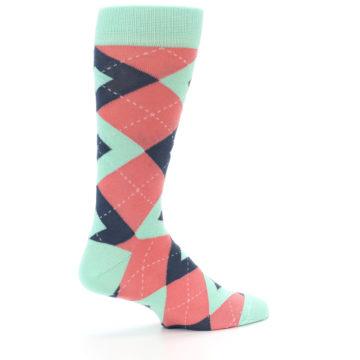 Image of Coral Mint Argyle Wedding Groomsmen Men's Dress Socks (side-1-23)