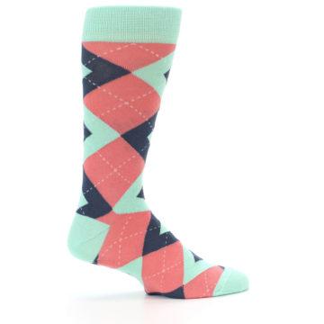 Image of Coral Mint Argyle Wedding Groomsmen Men's Dress Socks (side-1-24)