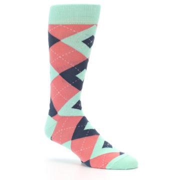 Image of Coral Mint Argyle Wedding Groomsmen Men's Dress Socks (side-1-26)