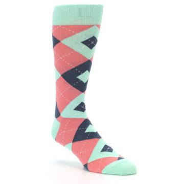 Image of Coral Mint Argyle Wedding Groomsmen Men's Dress Socks (side-1-27)