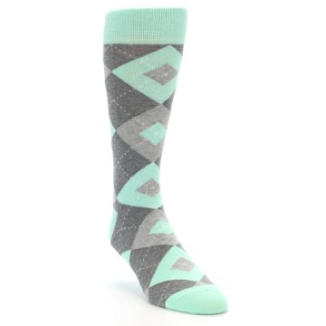 Image of Mint Gray Argyle Wedding Groomsmen Men's Dress Socks (side-1-front-02)