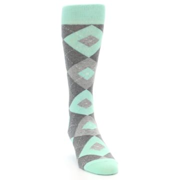 Image of Mint Gray Argyle Wedding Groomsmen Men's Dress Socks (side-1-front-03)
