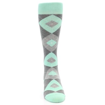 Image of Mint Gray Argyle Wedding Groomsmen Men's Dress Socks (front-04)