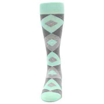 Image of Mint Gray Argyle Wedding Groomsmen Men's Dress Socks (front-05)
