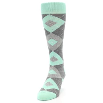 Image of Mint Gray Argyle Wedding Groomsmen Men's Dress Socks (side-2-front-06)