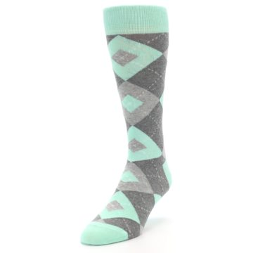 Image of Mint Gray Argyle Wedding Groomsmen Men's Dress Socks (side-2-front-07)