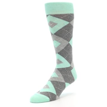 Image of Mint Gray Argyle Wedding Groomsmen Men's Dress Socks (side-2-front-08)