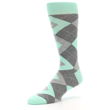 Image of Mint Gray Argyle Wedding Groomsmen Men's Dress Socks (side-2-09)