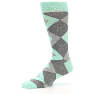 Image of Mint Gray Argyle Wedding Groomsmen Men's Dress Socks (side-2-10)