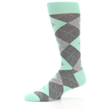 Image of Mint Gray Argyle Wedding Groomsmen Men's Dress Socks (side-2-11)