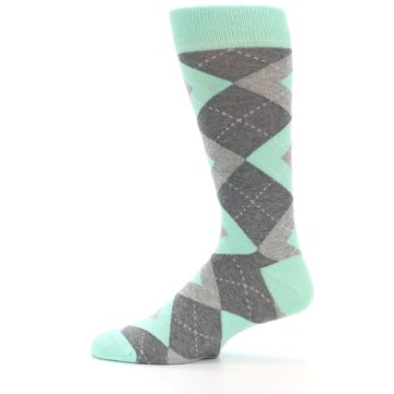 Image of Mint Gray Argyle Wedding Groomsmen Men's Dress Socks (side-2-12)