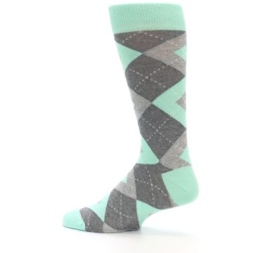 Image of Mint Gray Argyle Wedding Groomsmen Men's Dress Socks (side-2-13)