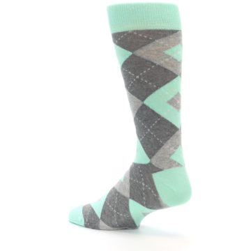 Image of Mint Gray Argyle Wedding Groomsmen Men's Dress Socks (side-2-back-14)
